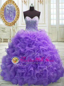 Elegant Purple Ball Gowns Organza Sweetheart Sleeveless Beading and Ruffles Lace Up 15th Birthday Dress Sweep Train