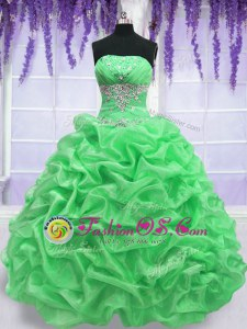 Ball Gowns Beading Quinceanera Dress Lace Up Organza Sleeveless Floor Length