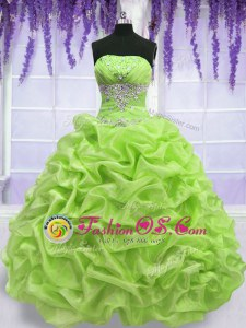 Traditional Sleeveless Beading and Pick Ups Lace Up Quince Ball Gowns