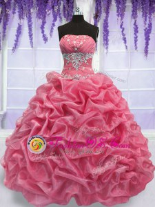 Organza Sleeveless Floor Length Ball Gown Prom Dress and Beading