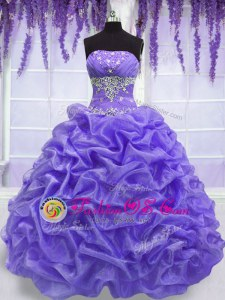 Nice Floor Length Lavender 15th Birthday Dress Organza Sleeveless Beading