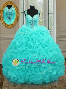 Lovely Aqua Blue Straps Zipper Beading and Ruffles Sweet 16 Quinceanera Dress Sleeveless