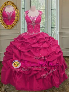 Dynamic Straps Floor Length Hot Pink 15th Birthday Dress Taffeta Sleeveless Beading and Pick Ups