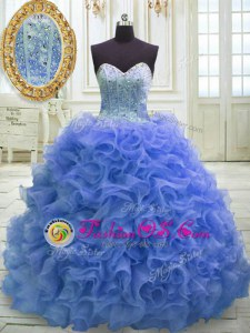 Fashion Sleeveless Beading and Ruffles Lace Up Sweet 16 Dresses with Blue Sweep Train