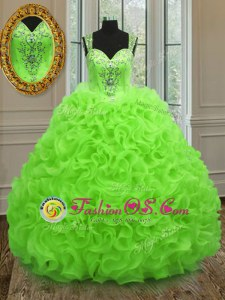 Latest Blue Organza Lace Up Sweetheart Sleeveless Floor Length Quince Ball Gowns Beading and Ruffles