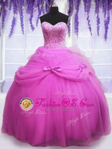 Traditional Sleeveless Tulle Floor Length Lace Up 15th Birthday Dress in Lilac for with Beading and Sequins and Bowknot