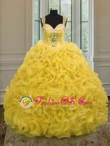 Gold Organza Zipper 15th Birthday Dress Sleeveless Floor Length Beading and Ruffles