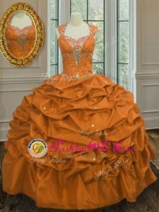 Discount Pick Ups Straps Sleeveless Lace Up Sweet 16 Dresses Orange Taffeta
