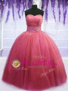 Pink Ball Gowns Beading and Belt Vestidos de Quinceanera Lace Up Tulle Sleeveless Floor Length