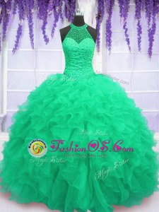 Enchanting Turquoise High-neck Lace Up Beading and Ruffles 15th Birthday Dress Sleeveless
