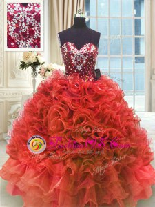Ball Gowns Quinceanera Gown Wine Red Sweetheart Organza Sleeveless Floor Length Lace Up