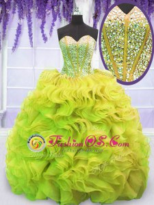 Yellow Green Quince Ball Gowns Organza Sweep Train Sleeveless Beading and Ruffles