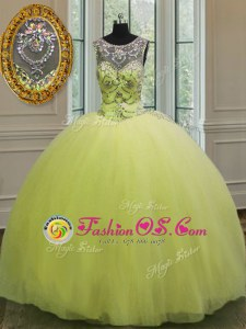 Customized Tulle Sweetheart Sleeveless Lace Up Beading Quinceanera Gown in Yellow Green