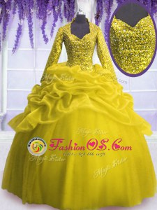 High Class Yellow Long Sleeves Floor Length Sequins and Pick Ups Zipper 15 Quinceanera Dress