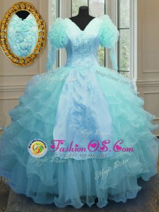 Graceful Blue Zipper V-neck Embroidery and Ruffled Layers 15 Quinceanera Dress Organza Long Sleeves