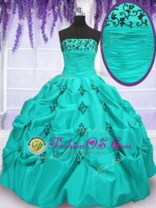 Deluxe Mermaid Strapless Sleeveless 15th Birthday Dress Floor Length Embroidery and Pick Ups Aqua Blue Taffeta