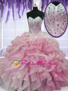 Rose Pink Sweetheart Neckline Beading and Ruffles Sweet 16 Quinceanera Dress Sleeveless Lace Up