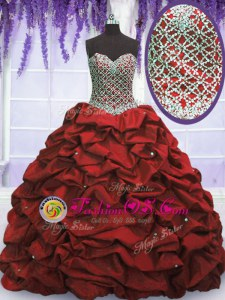 Admirable Wine Red Quinceanera Dresses Military Ball and Sweet 16 and Quinceanera and For with Beading and Sequins and Pick Ups Sweetheart Sleeveless Lace Up