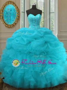 Best Gold Lace Up Sweetheart Appliques and Pick Ups Sweet 16 Quinceanera Dress Taffeta Sleeveless Sweep Train