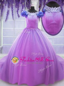 Scoop Lilac Ball Gowns Hand Made Flower Quinceanera Gowns Lace Up Tulle Short Sleeves Floor Length