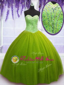 Designer Olive Green Tulle Lace Up Quinceanera Gowns Sleeveless Floor Length Beading
