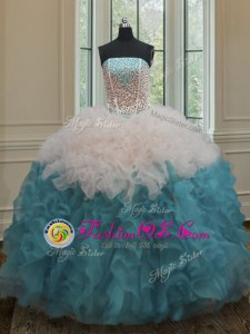 Royal Blue Sleeveless Floor Length Beading and Ruffles Lace Up Quinceanera Dress