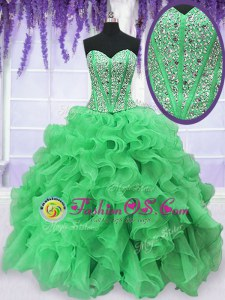 Ball Gowns Ball Gown Prom Dress Green Sweetheart Organza Sleeveless Floor Length Lace Up
