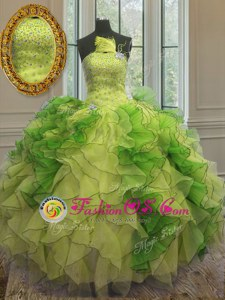 Ball Gowns Quince Ball Gowns Multi-color Strapless Organza Sleeveless Floor Length Lace Up