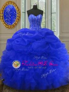 Royal Blue Sleeveless Beading and Ruffles and Pick Ups Floor Length 15th Birthday Dress