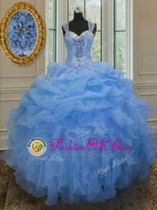 Customized Organza Straps Sleeveless Zipper Beading and Ruffles Vestidos de Quinceanera in Blue