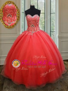 Coral Red Sleeveless Floor Length Beading Lace Up Vestidos de Quinceanera