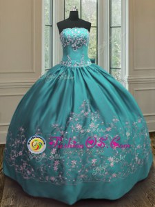 Teal Sleeveless Floor Length Embroidery Lace Up Sweet 16 Dress