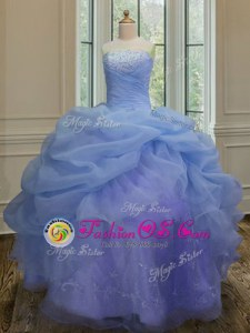 Sleeveless Organza Floor Length Lace Up Quinceanera Dress in Blue for with Embroidery and Pick Ups