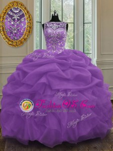 Delicate Lavender Sweetheart Neckline Beading and Ruffles Sweet 16 Quinceanera Dress Sleeveless Lace Up