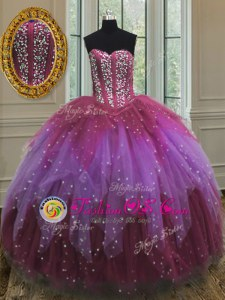 Pretty Multi-color Ball Gowns Sweetheart Sleeveless Tulle Floor Length Lace Up Beading and Ruffles and Sequins Sweet 16 Dresses
