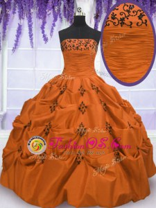 Top Selling Sleeveless Taffeta Floor Length Lace Up Vestidos de Quinceanera in Orange Red for with Embroidery and Pick Ups