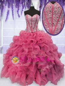 Discount Floor Length Pink Sweet 16 Dresses Sweetheart Sleeveless Lace Up