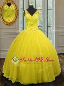 V-neck Sleeveless Ball Gown Prom Dress Floor Length Beading Yellow Tulle