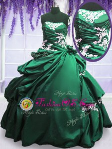 Sleeveless Taffeta Floor Length Lace Up Quinceanera Gown in Green and Dark Green for with Appliques and Pick Ups