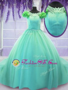 Affordable Scoop Turquoise Short Sleeves Tulle Court Train Lace Up Sweet 16 Dress for Military Ball and Sweet 16 and Quinceanera