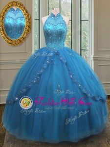 Pretty Blue Sleeveless Beading and Appliques Floor Length Quinceanera Dresses