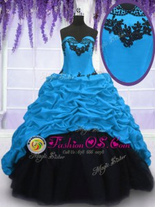 Admirable Taffeta Sweetheart Sleeveless Sweep Train Lace Up Appliques and Pick Ups Quinceanera Dresses in Blue