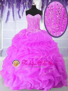 Floor Length Hot Pink Quinceanera Gown Organza Sleeveless Ruffles and Sequins