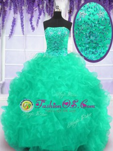 New Arrival Brush Train Ball Gowns Quinceanera Dress Turquoise Strapless Organza Sleeveless With Train Lace Up