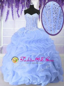 Light Blue Ball Gowns Beading and Ruffles Quinceanera Dress Lace Up Organza Sleeveless Floor Length