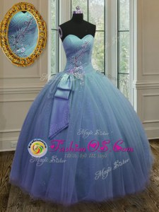 Low Price Tulle and Sequined Sweetheart Sleeveless Lace Up Beading and Ruching Quince Ball Gowns in Blue