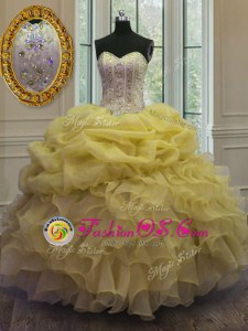 Sophisticated Sleeveless Lace Up Floor Length Beading and Ruffles Sweet 16 Quinceanera Dress