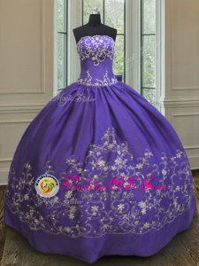 Purple Ball Gowns Satin Strapless Sleeveless Embroidery Floor Length Lace Up Ball Gown Prom Dress