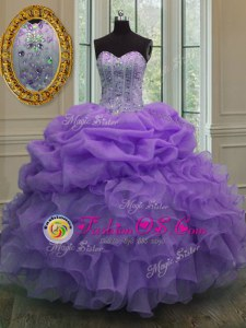 New Arrival Lavender Sweetheart Lace Up Beading and Pick Ups 15th Birthday Dress Sleeveless