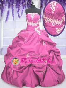 Rose Pink Taffeta Lace Up Strapless Sleeveless Floor Length Ball Gown Prom Dress Appliques and Pick Ups